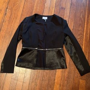 1. STATE Black Blazer with Silver Zipper & Satin